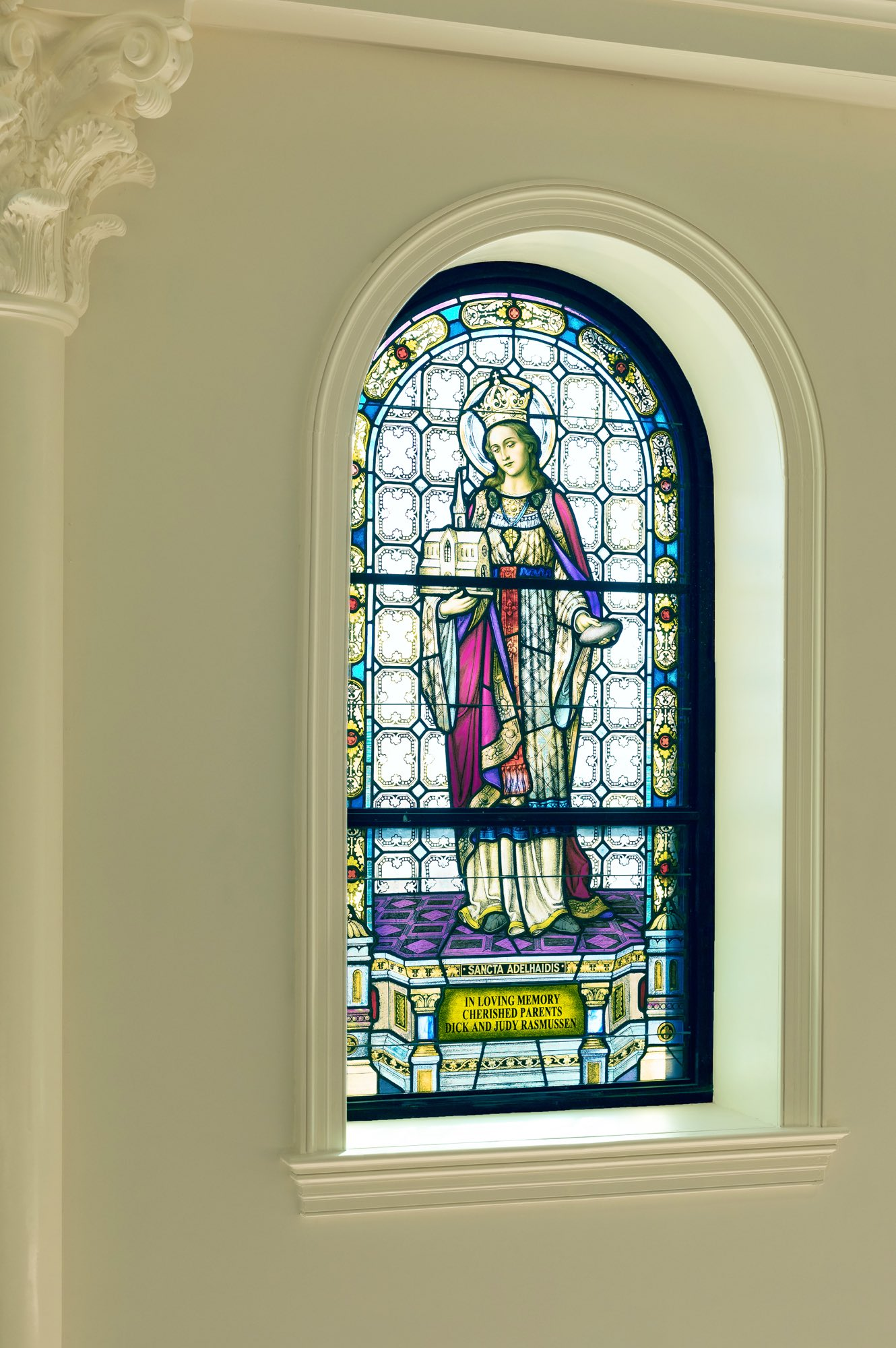 Stained Glass Window colored image of Mary Queen and Mother in arch with Corinthian capital classical by Harrison Design
