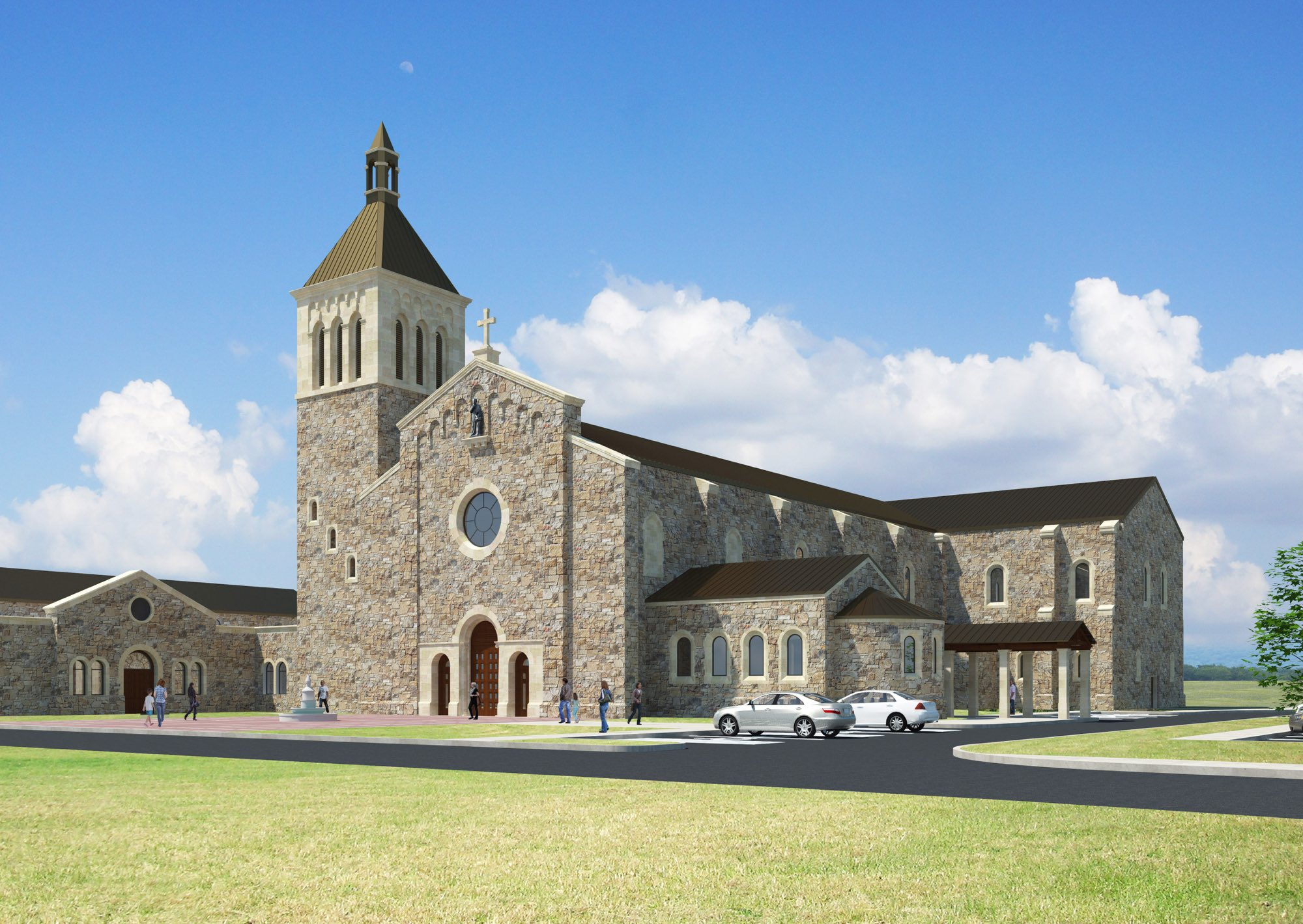 Classical cruciform stone Romanesque church with buttresses bell tower rose window and plaza by Harrison Design