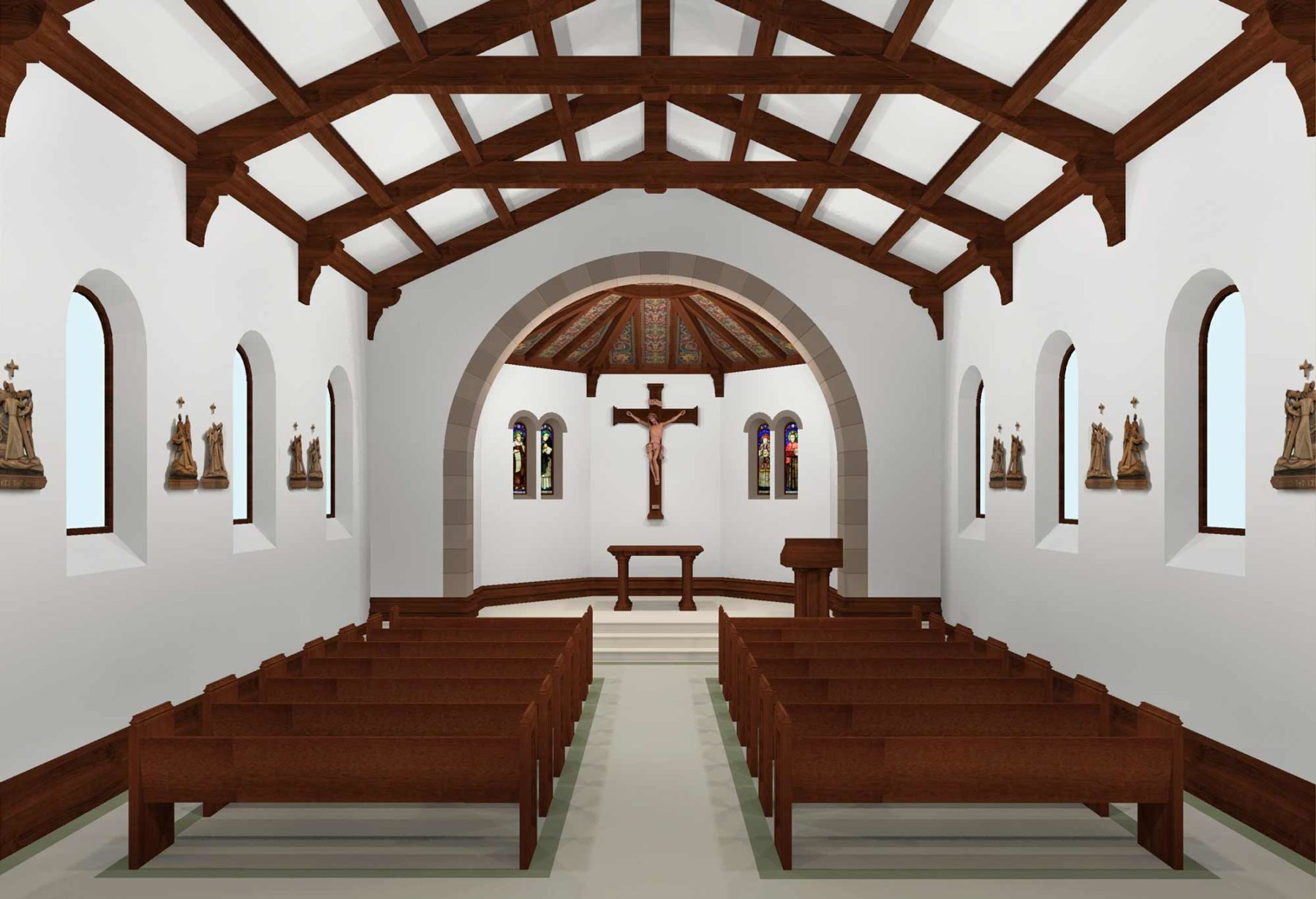 Daily mass chapel exposed wooden beam ceiling bracket stations of the cross and arch stain glass windows by Harrison Design