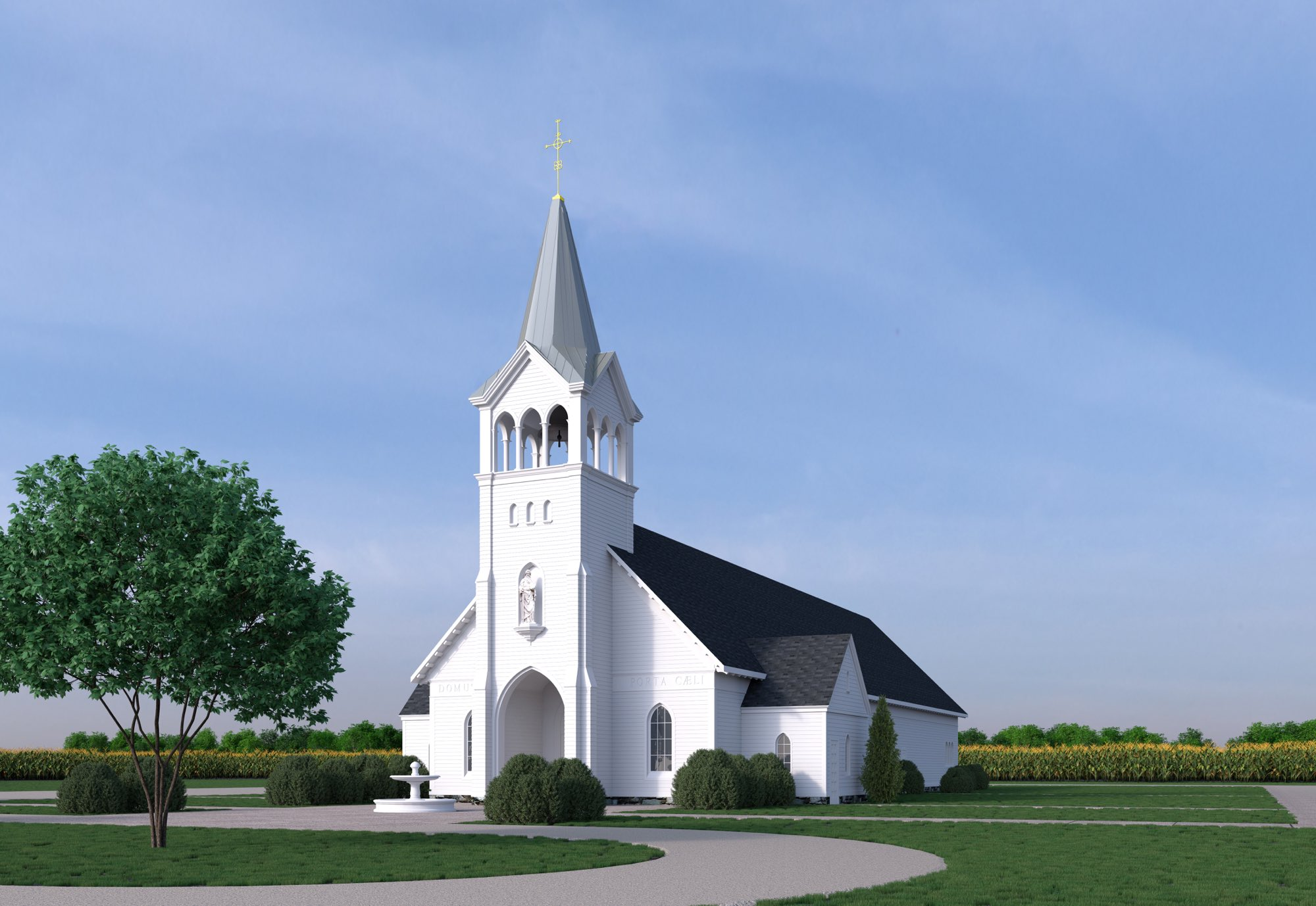 Wooden church architecture arcade columns and steeple statue niche and buttresses white wood siding by Harrison Design
