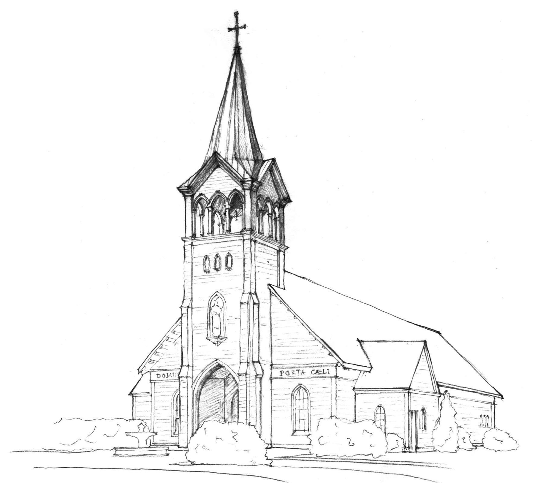 Concept sketch pencil rendering catholic church with central tower contemporary architecture drawing by Harrison Design