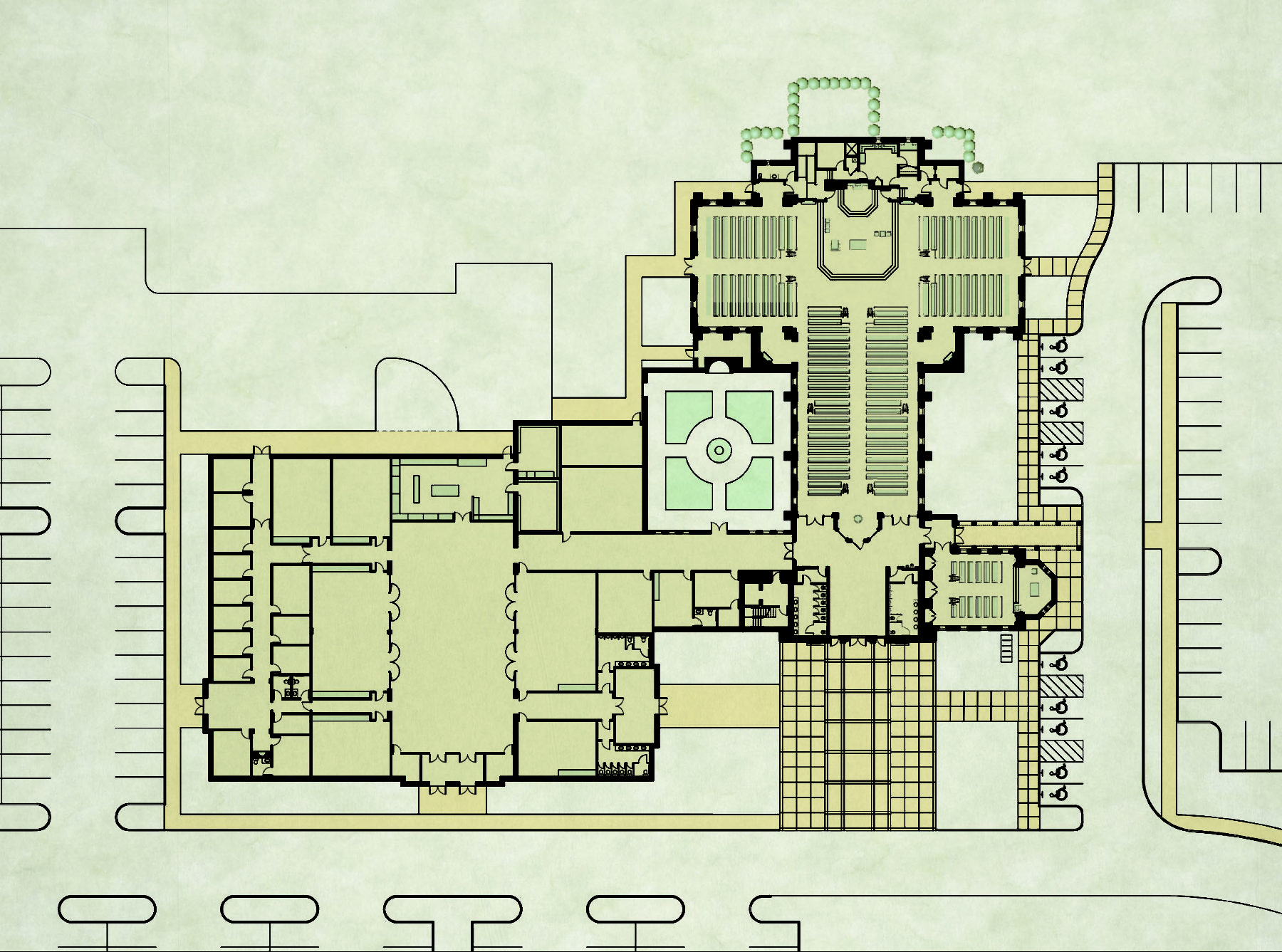 Master plan church building and fellowship parish hall sanctuary nave and buttresses cloister and plaza by Harrison Design