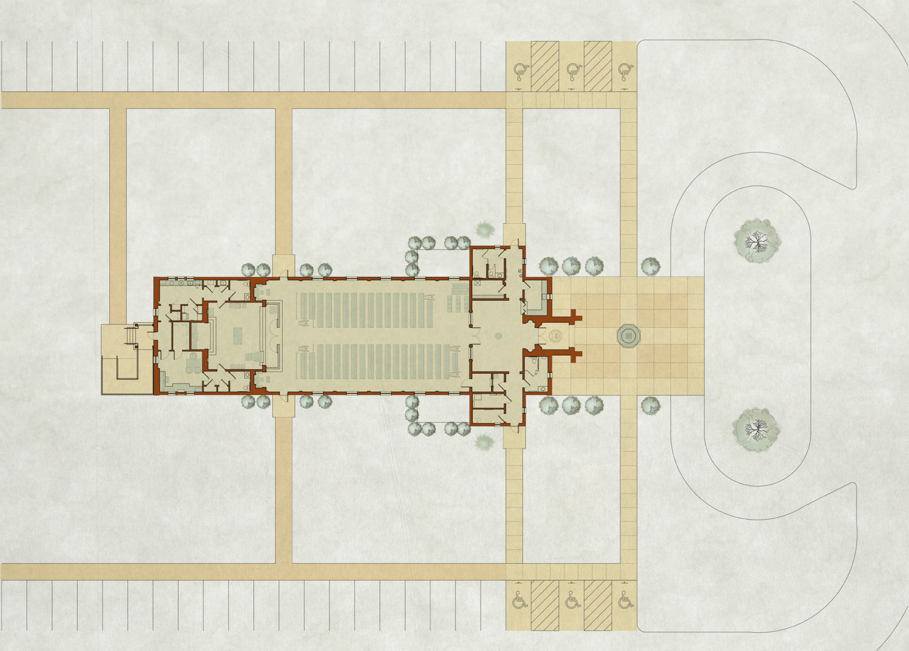 Master site plan rendering plaza catholic church architecture nave narthex and sanctuary with altar rail by Harrison Design