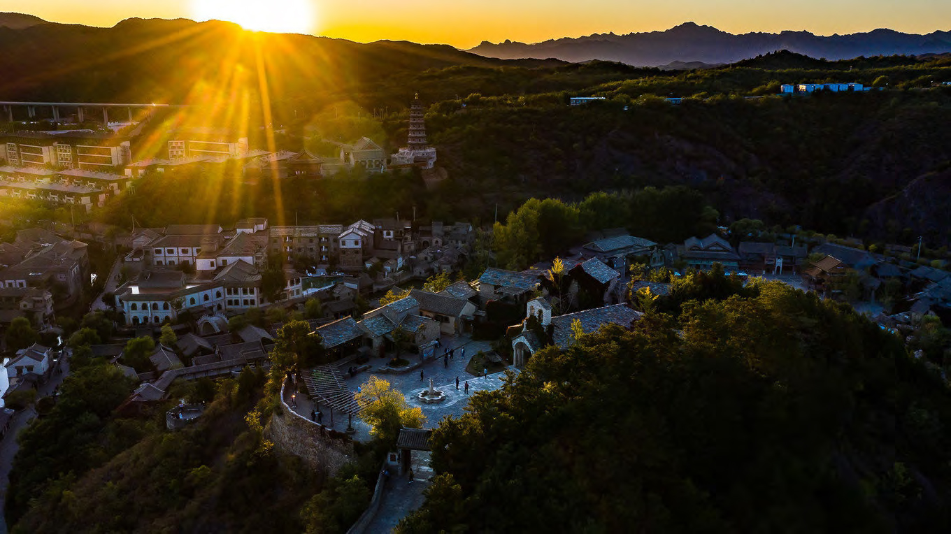 Great wall sunset vista missionary stone church architecture with beautiful view of the mountains Harrison Design