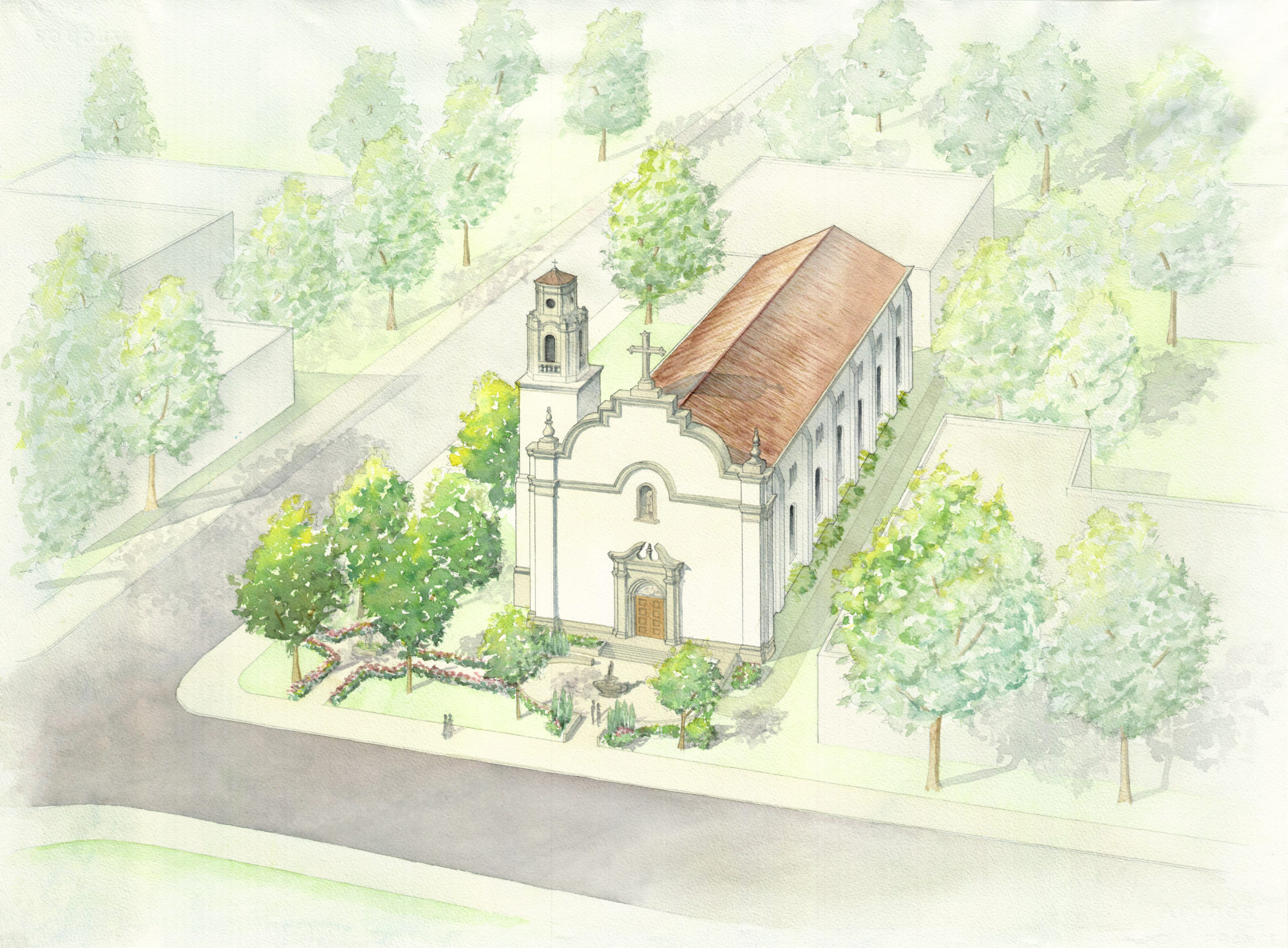 Adobe terra cotta tile mission church watercolor rendering Spanish revival bell tower limestone details by Harrison Design