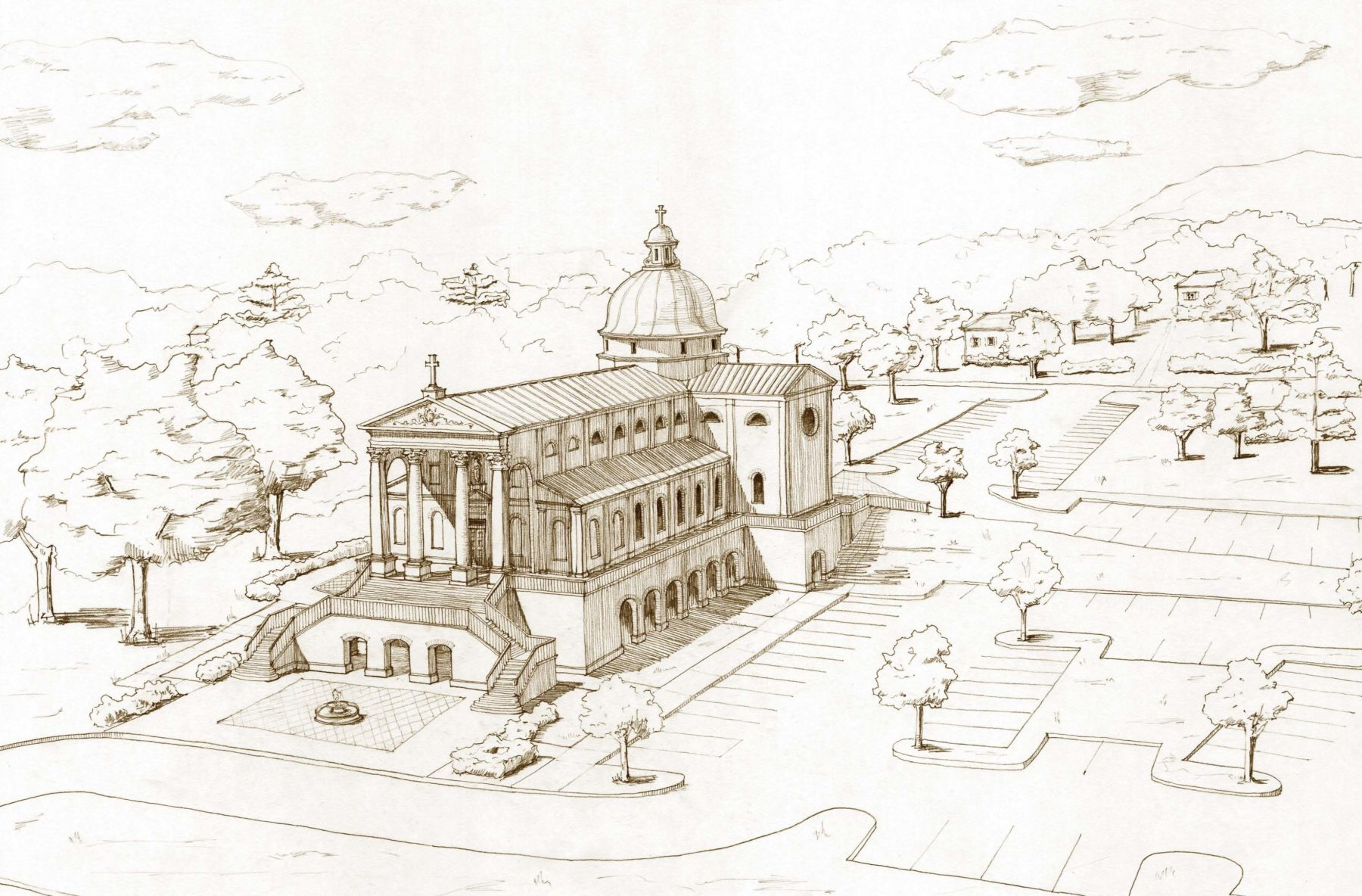 Perspective 3D rendering pencil drawing cruciform church with dome and parish hall podium columns by Harrison Design