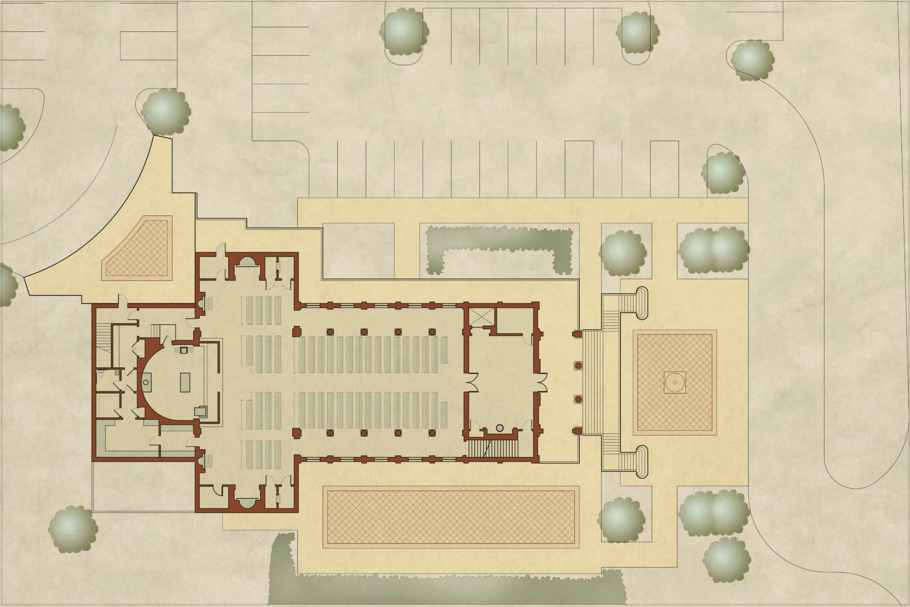 Cruciform Church and site plan with plaza and grand stair accessible nave narthex and classical sanctuary by Harrison Design