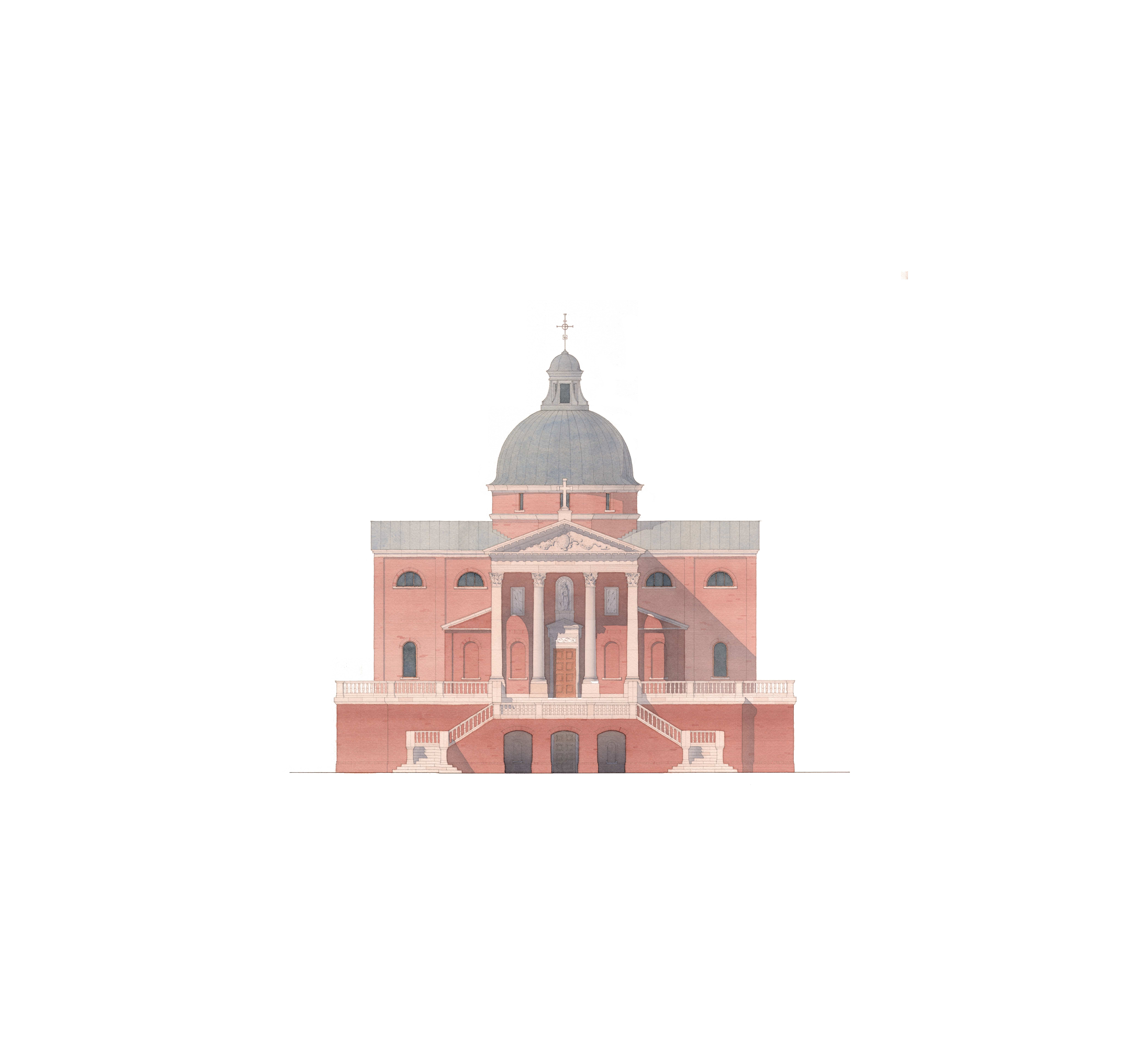 Watercolor rendering palladio inspired brick church renaissance classical architecture with pediment dome by Harrison Design