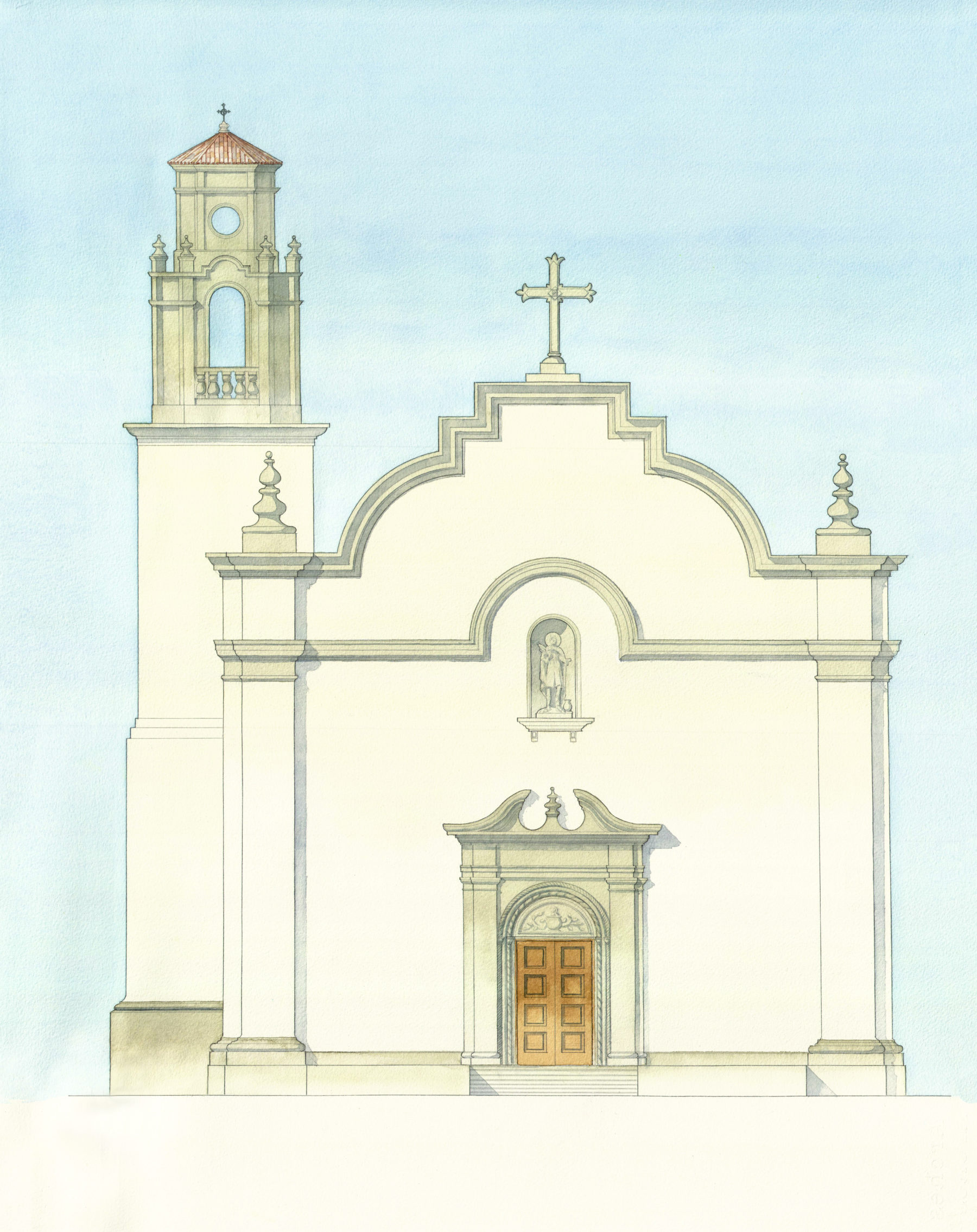 Adobe mission church with statue niche limestone details classical façade bell tower mission by Harrison Design