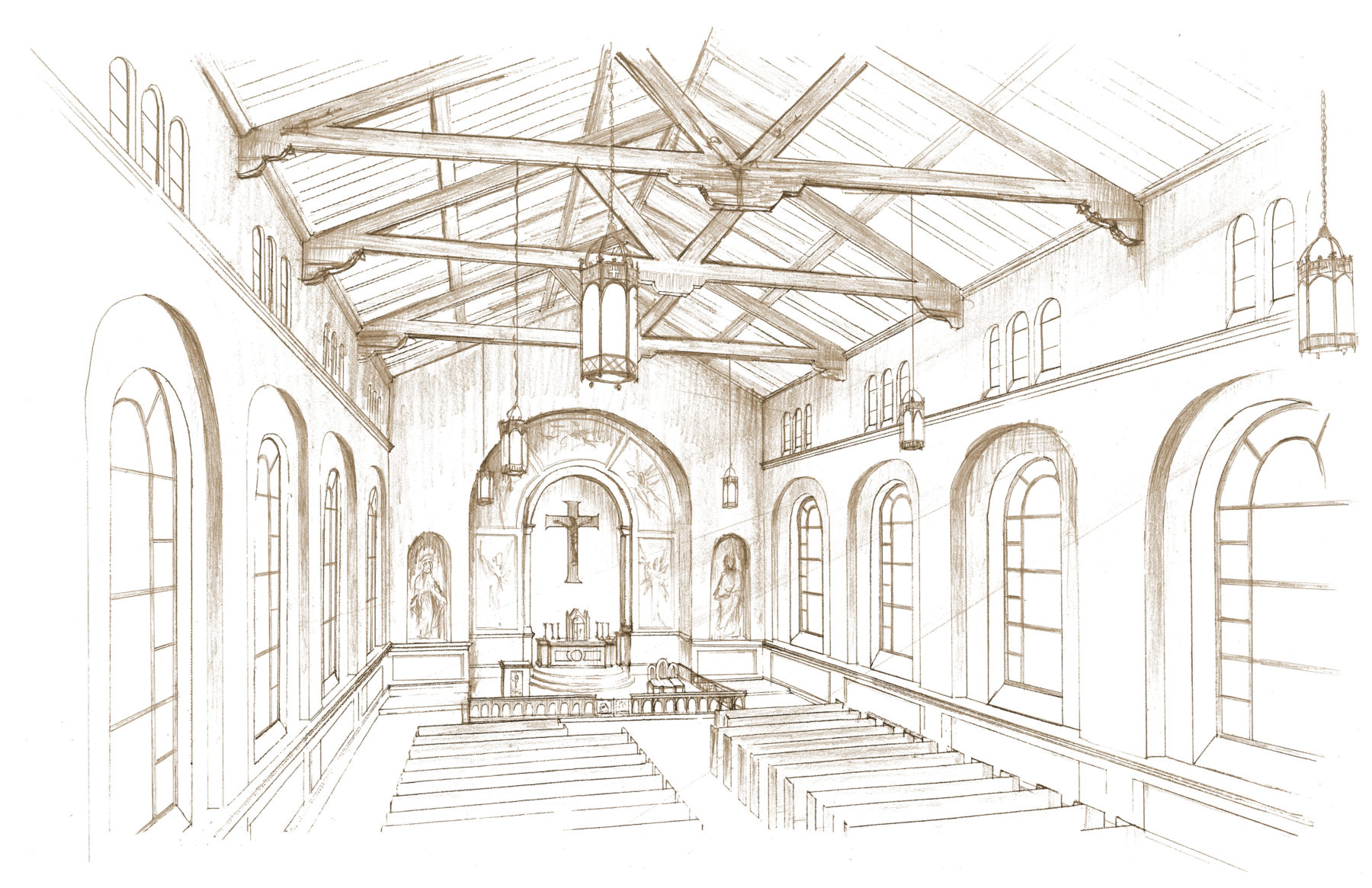 Interior perspective pencil rendering wooden timber truss ceiling church nave and arch windows by Harrison Design